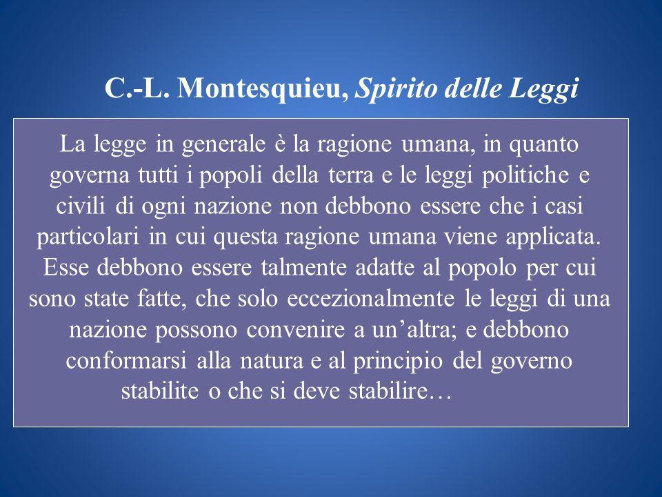 C.-L. Montesquieu, Spirito delle Leggi La legge in generale è la ragione umana, in quanto governa tutti i popoli della terra e le leggi politiche e ci