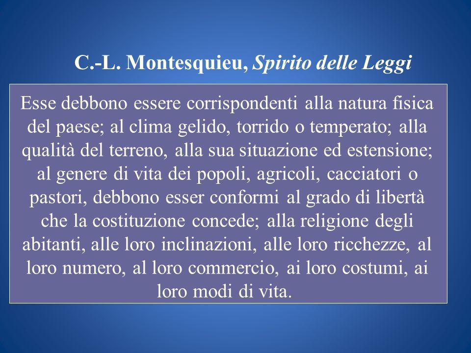C.-L. Montesquieu, Spirito delle Leggi Esse debbono essere corrispondenti alla natura fisica del paese; al clima gelido, torrido o temperato; alla qua
