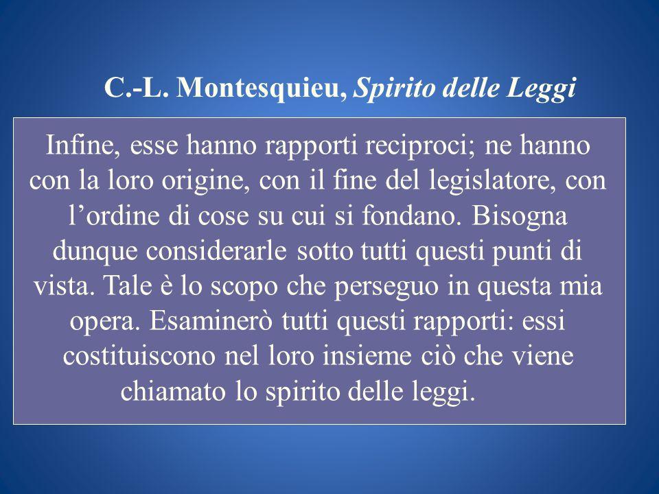 C.-L. Montesquieu, Spirito delle Leggi Infine, esse hanno rapporti reciproci; ne hanno con la loro origine, con il fine del legislatore, con lordine d