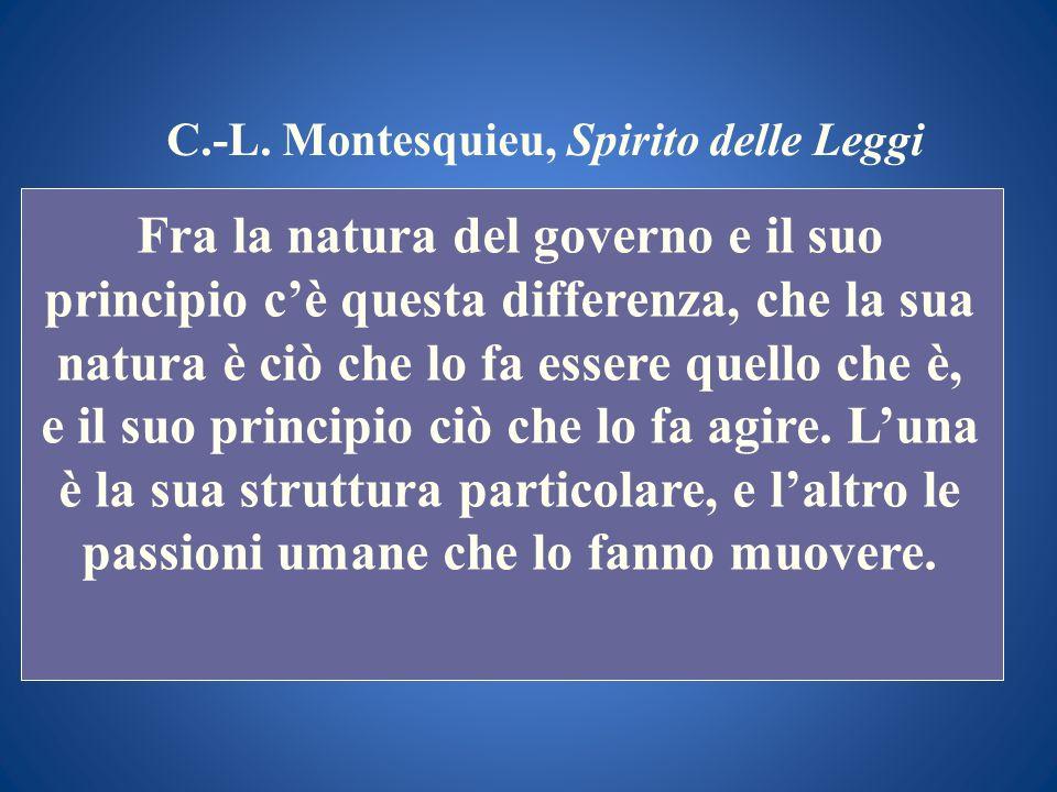 C.-L. Montesquieu, Spirito delle Leggi Fra la natura del governo e il suo principio cè questa differenza, che la sua natura è ciò che lo fa essere que