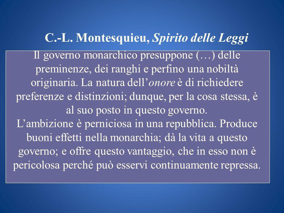 C.-L. Montesquieu, Spirito delle Leggi Il governo monarchico presuppone (…) delle preminenze, dei ranghi e perfino una nobiltà originaria. La natura d