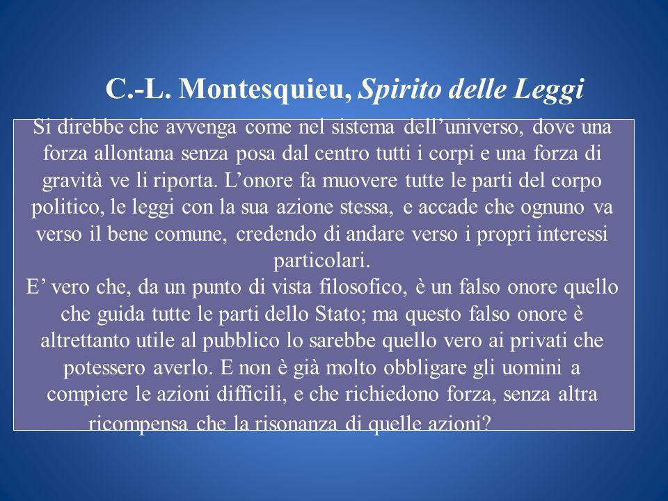 C.-L. Montesquieu, Spirito delle Leggi Si direbbe che avvenga come nel sistema delluniverso, dove una forza allontana senza posa dal centro tutti i co