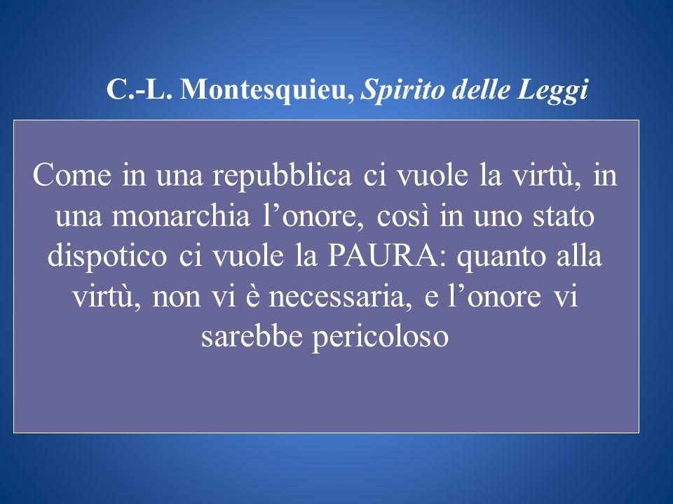 C.-L. Montesquieu, Spirito delle Leggi Come in una repubblica ci vuole la virtù, in una monarchia lonore, così in uno stato dispotico ci vuole la PAUR