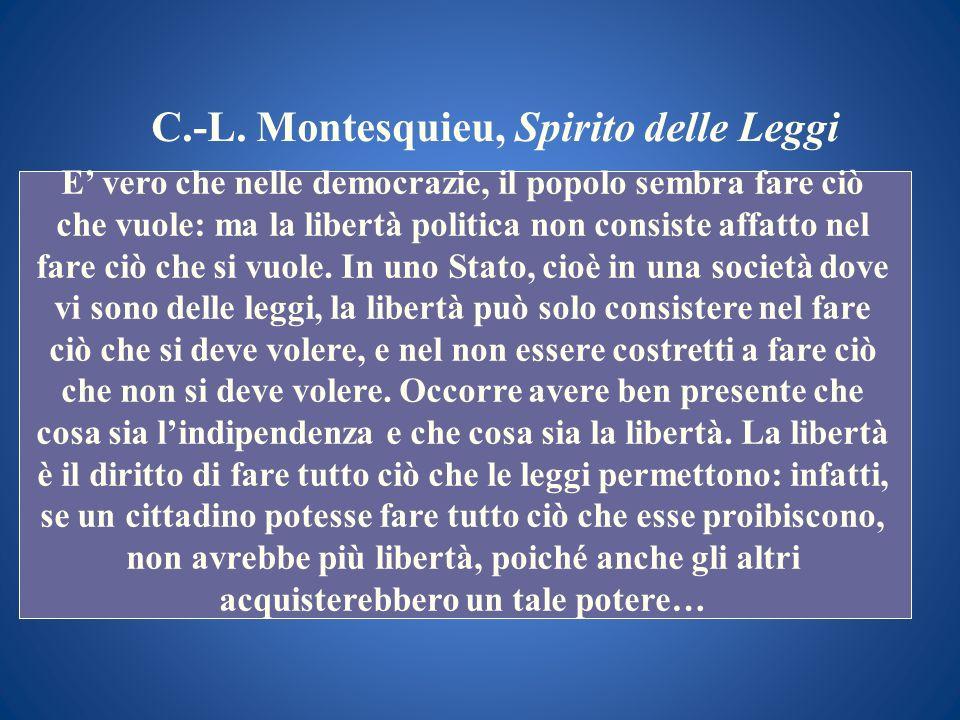 C.-L. Montesquieu, Spirito delle Leggi E vero che nelle democrazie, il popolo sembra fare ciò che vuole: ma la libertà politica non consiste affatto n