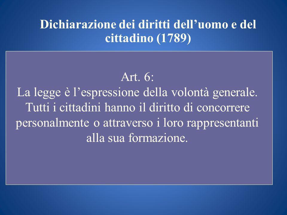 Dichiarazione dei diritti delluomo e del cittadino (1789) Art. 6: La legge è lespressione della volontà generale. Tutti i cittadini hanno il diritto d