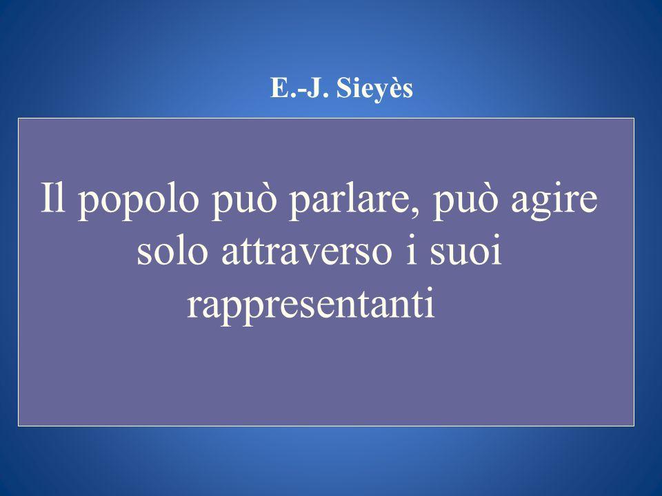 E.-J. Sieyès Il popolo può parlare, può agire solo attraverso i suoi rappresentanti