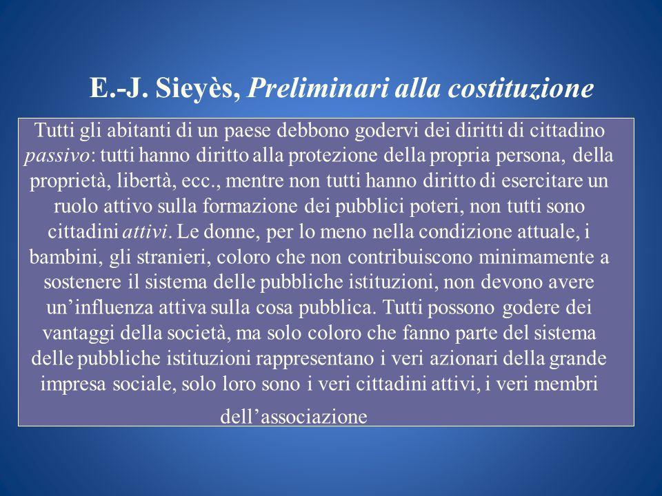 E.-J. Sieyès, Preliminari alla costituzione Tutti gli abitanti di un paese debbono godervi dei diritti di cittadino passivo: tutti hanno diritto alla