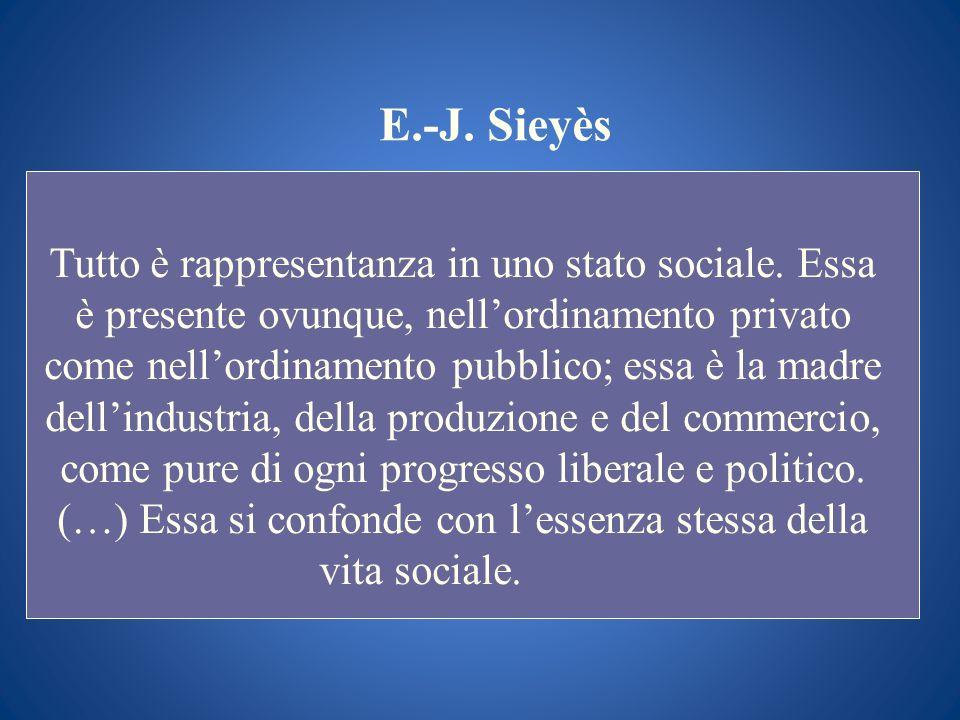 E.-J. Sieyès Tutto è rappresentanza in uno stato sociale. Essa è presente ovunque, nellordinamento privato come nellordinamento pubblico; essa è la ma