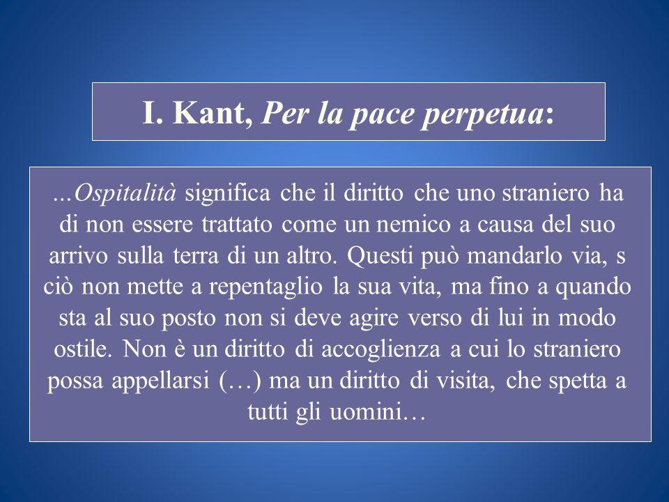 STORIA COSTITUZIONALE I. Kant, Per la pace perpetua: …Ospitalità significa che il diritto che uno straniero ha di non essere trattato come un nemico a