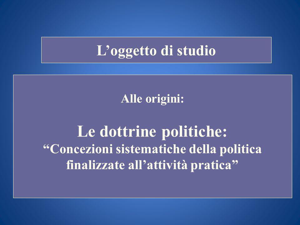 STORIA COSTITUZIONALE Loggetto di studio Alle origini: Le dottrine politiche: Concezioni sistematiche della politica finalizzate allattività pratica