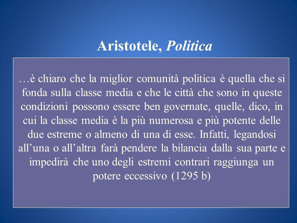 Aristotele, Politica …è chiaro che la miglior comunità politica è quella che si fonda sulla classe media e che le città che sono in queste condizioni