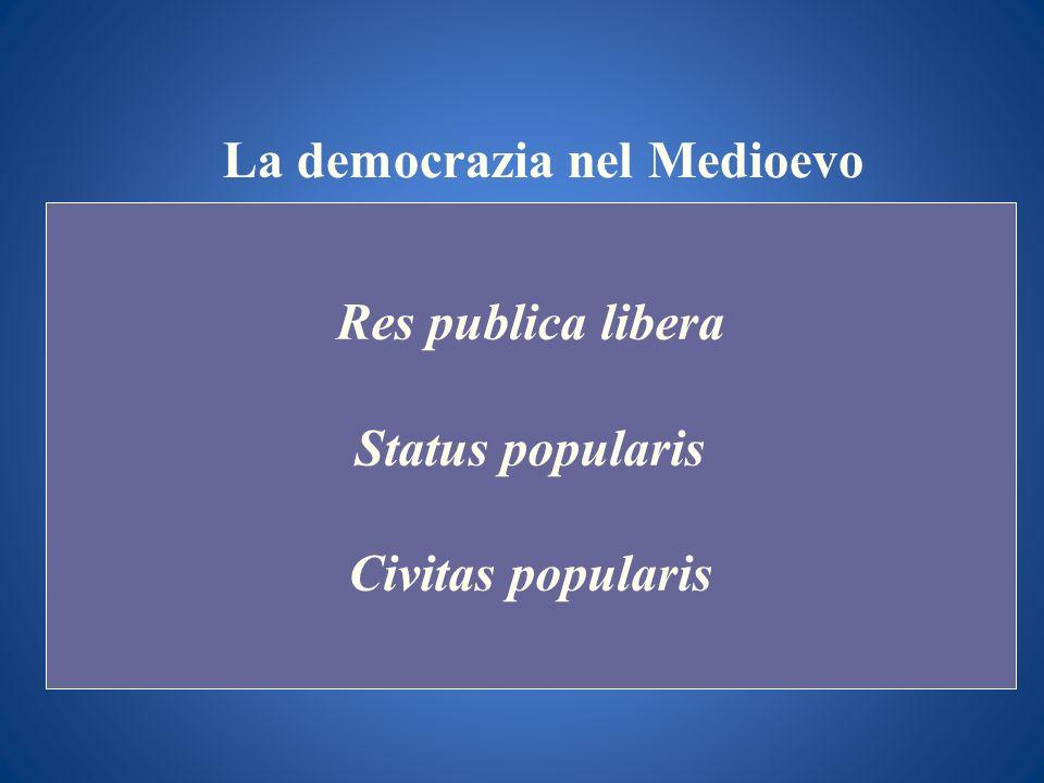 La democrazia nel Medioevo Res publica libera Status popularis Civitas popularis