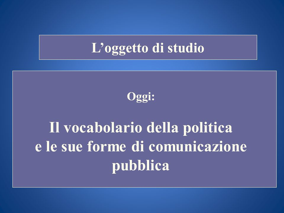 STORIA COSTITUZIONALE Loggetto di studio Oggi: Il vocabolario della politica e le sue forme di comunicazione pubblica