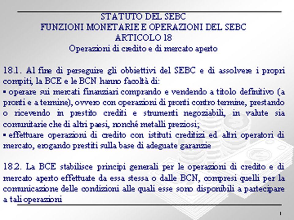 14 STATUTO DEL SEBC FUNZIONI MONETARIE E OPERAZIONI DEL SEBC ARTICOLO 19 Riserve Minime 19.1.