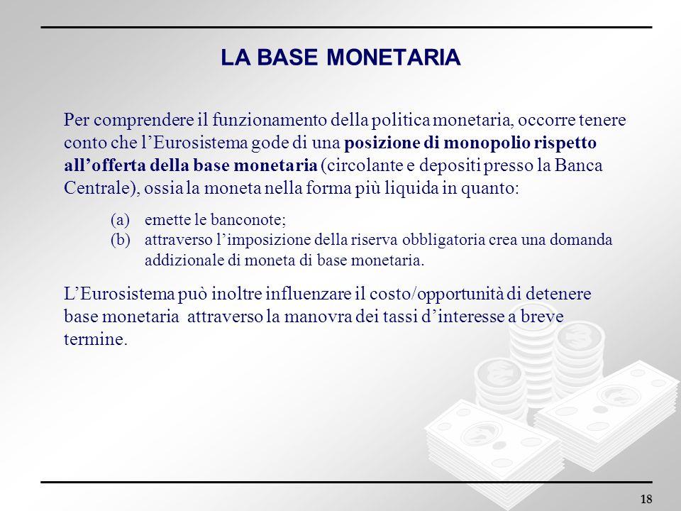 18 LA BASE MONETARIA Per comprendere il funzionamento della politica monetaria, occorre tenere conto che lEurosistema gode di una posizione di monopol