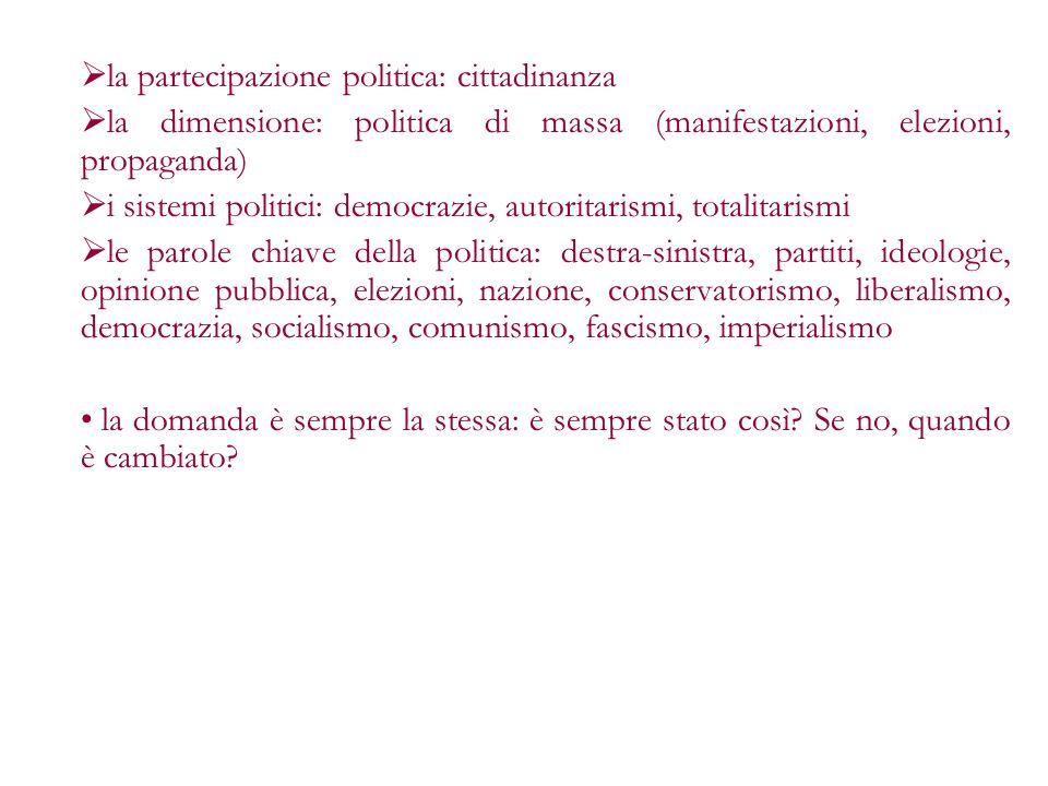 la partecipazione politica: cittadinanza la dimensione: politica di massa (manifestazioni, elezioni, propaganda) i sistemi politici: democrazie, autor