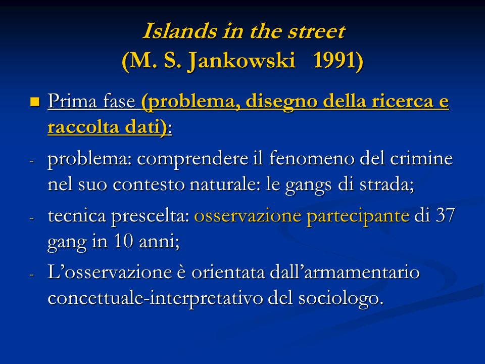Islands in the street (M.S.