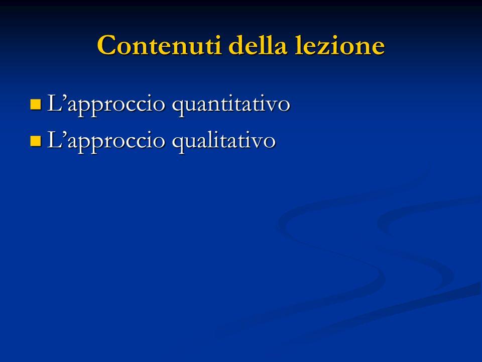 Contenuti della lezione Lapproccio quantitativo Lapproccio quantitativo Lapproccio qualitativo Lapproccio qualitativo