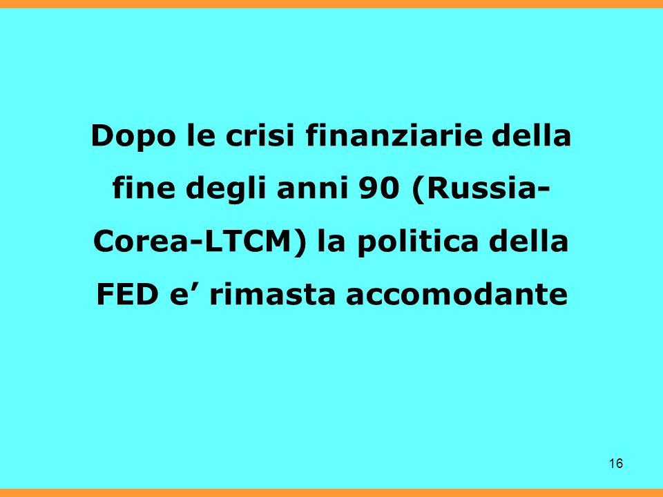 16 Dopo le crisi finanziarie della fine degli anni 90 (Russia- Corea-LTCM) la politica della FED e rimasta accomodante