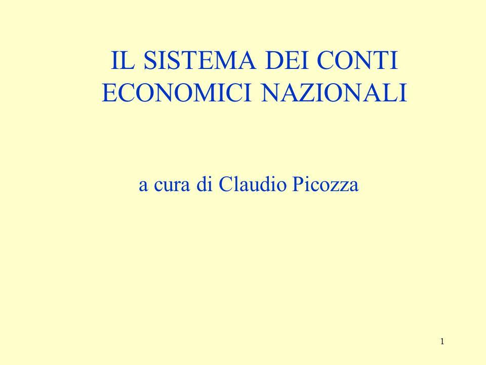 1 IL SISTEMA DEI CONTI ECONOMICI NAZIONALI a cura di Claudio Picozza