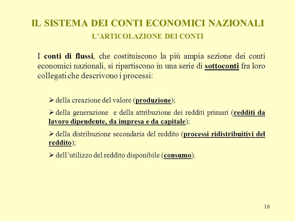 16 IL SISTEMA DEI CONTI ECONOMICI NAZIONALI LARTICOLAZIONE DEI CONTI I conti di flussi, che costituiscono la più ampia sezione dei conti economici naz