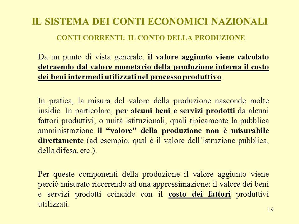 19 IL SISTEMA DEI CONTI ECONOMICI NAZIONALI CONTI CORRENTI: IL CONTO DELLA PRODUZIONE Da un punto di vista generale, il valore aggiunto viene calcolat