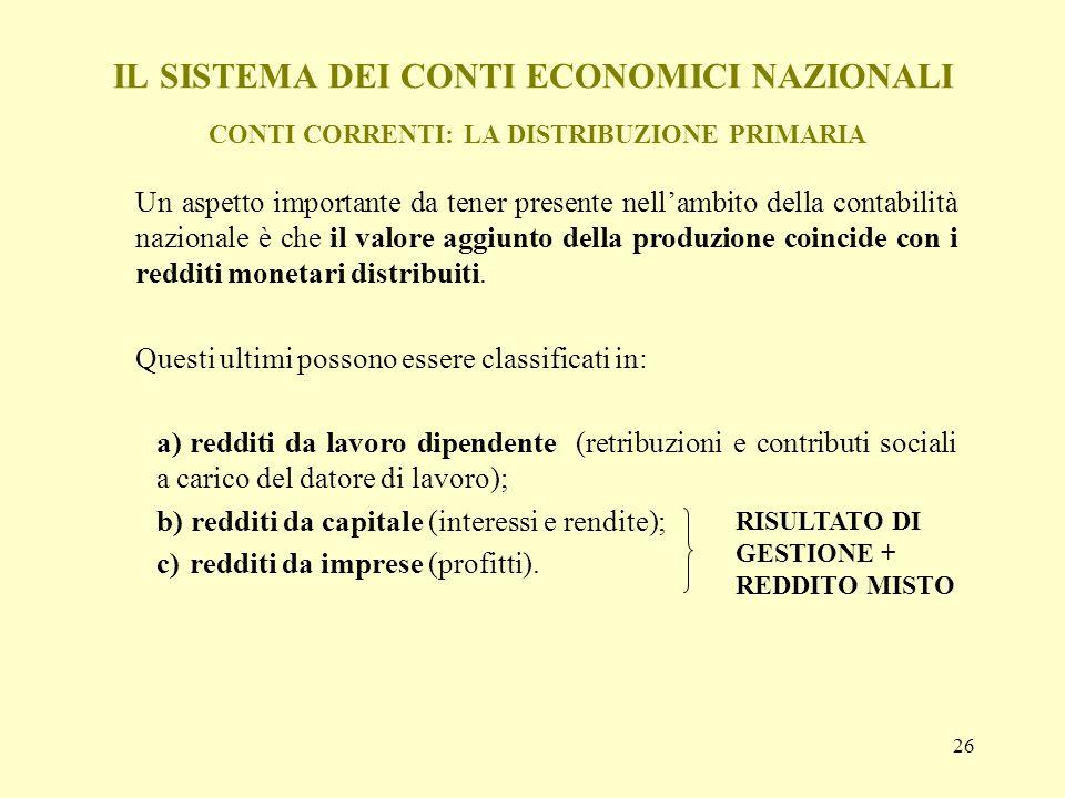 26 IL SISTEMA DEI CONTI ECONOMICI NAZIONALI CONTI CORRENTI: LA DISTRIBUZIONE PRIMARIA Un aspetto importante da tener presente nellambito della contabi