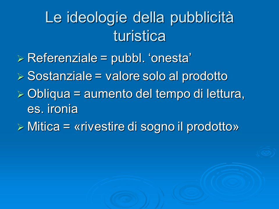 Le ideologie della pubblicità turistica Referenziale = pubbl.