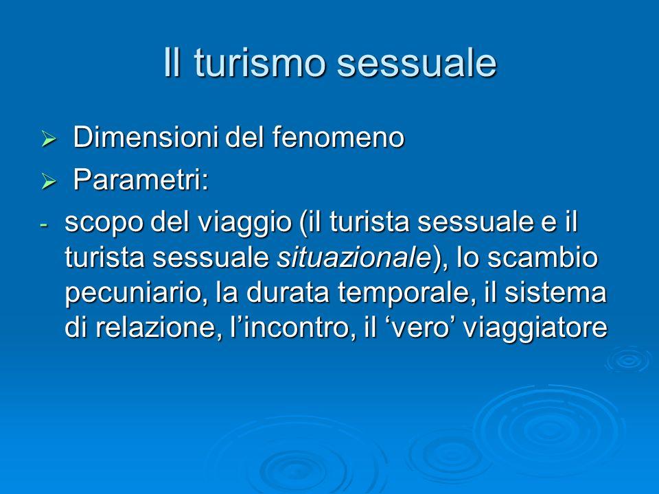 Il turismo sessuale Dimensioni del fenomeno Dimensioni del fenomeno Parametri: Parametri: - scopo del viaggio (il turista sessuale e il turista sessuale situazionale), lo scambio pecuniario, la durata temporale, il sistema di relazione, lincontro, il vero viaggiatore