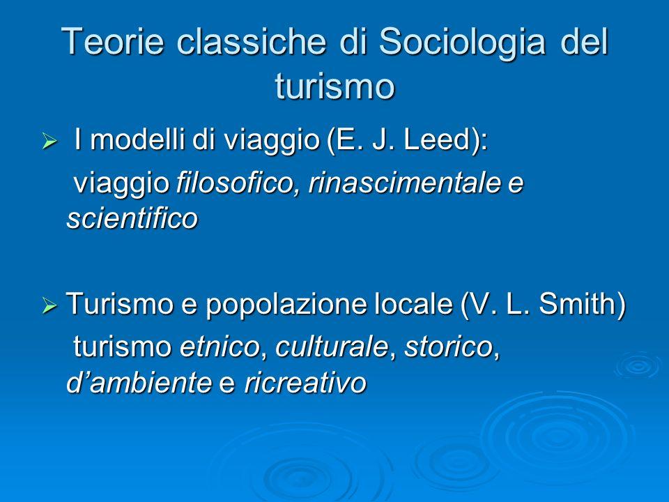 Teorie classiche di Sociologia del turismo I modelli di viaggio (E.