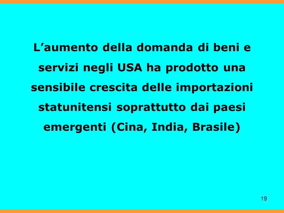 19 Laumento della domanda di beni e servizi negli USA ha prodotto una sensibile crescita delle importazioni statunitensi soprattutto dai paesi emergenti (Cina, India, Brasile)