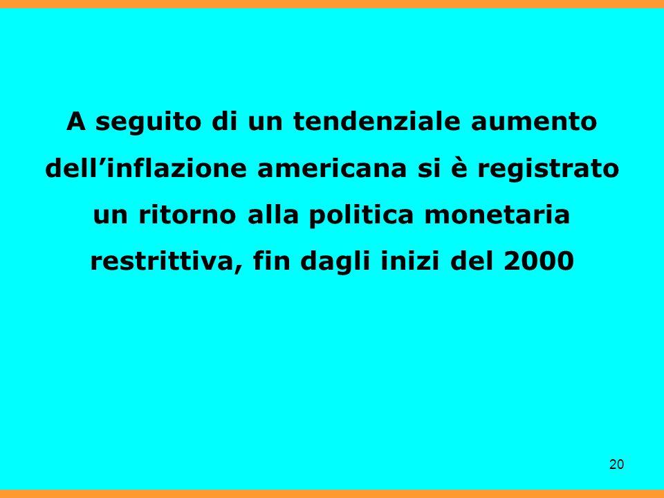 20 A seguito di un tendenziale aumento dellinflazione americana si è registrato un ritorno alla politica monetaria restrittiva, fin dagli inizi del 2000