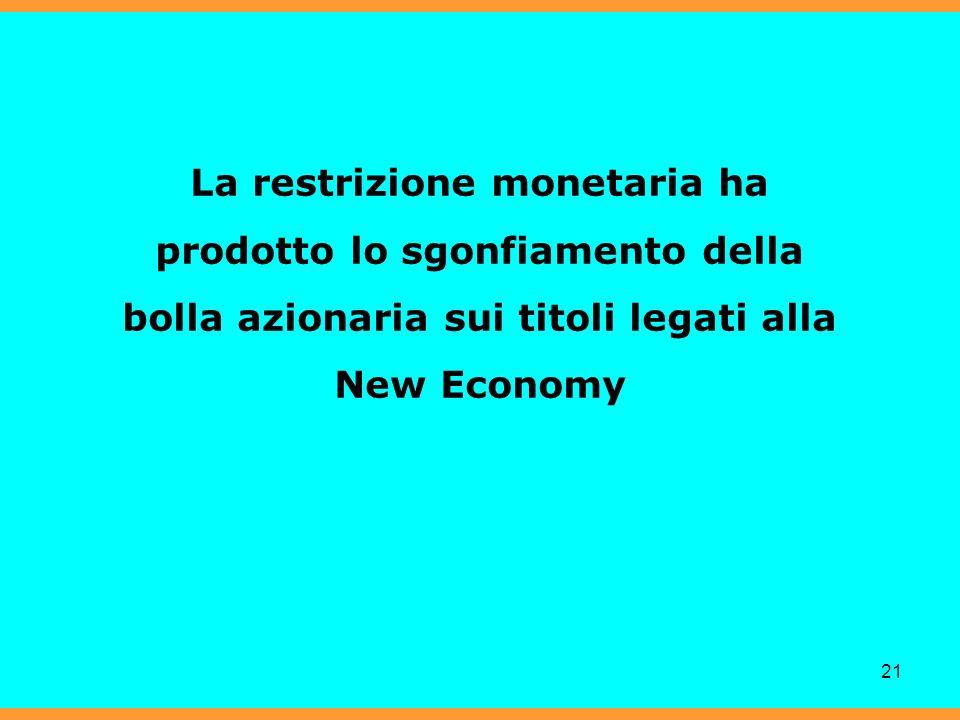 21 La restrizione monetaria ha prodotto lo sgonfiamento della bolla azionaria sui titoli legati alla New Economy