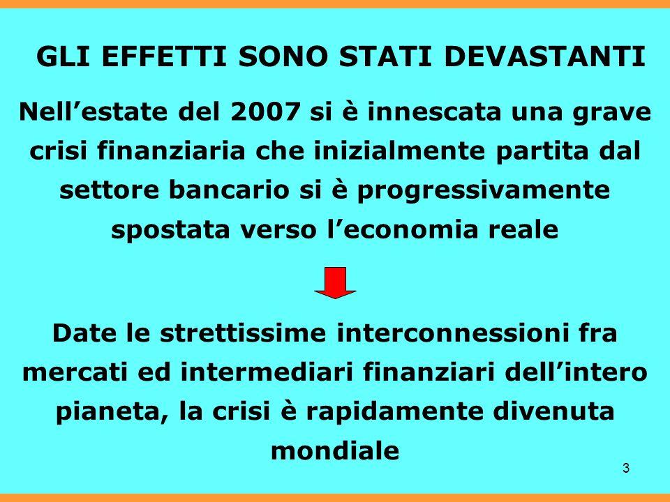 3 GLI EFFETTI SONO STATI DEVASTANTI Nellestate del 2007 si è innescata una grave crisi finanziaria che inizialmente partita dal settore bancario si è