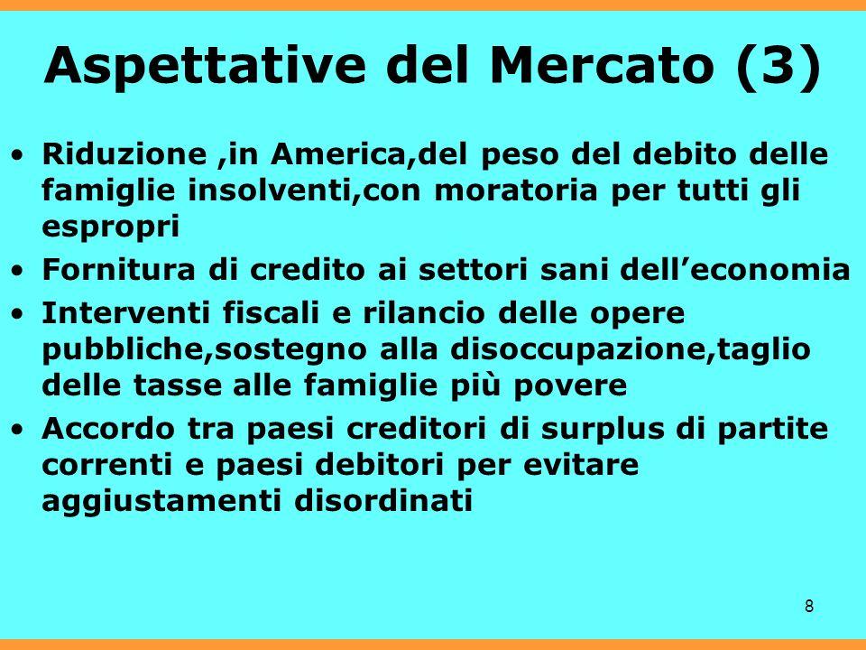 8 Aspettative del Mercato (3) Riduzione,in America,del peso del debito delle famiglie insolventi,con moratoria per tutti gli espropri Fornitura di cre