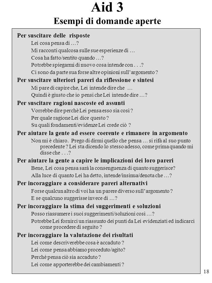 18 Aid 3 Esempi di domande aperte Per suscitare delle risposte Lei cosa pensa di ….