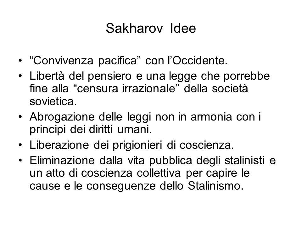 Sakharov Idee Convivenza pacifica con lOccidente. Libertà del pensiero e una legge che porrebbe fine alla censura irrazionale della società sovietica.