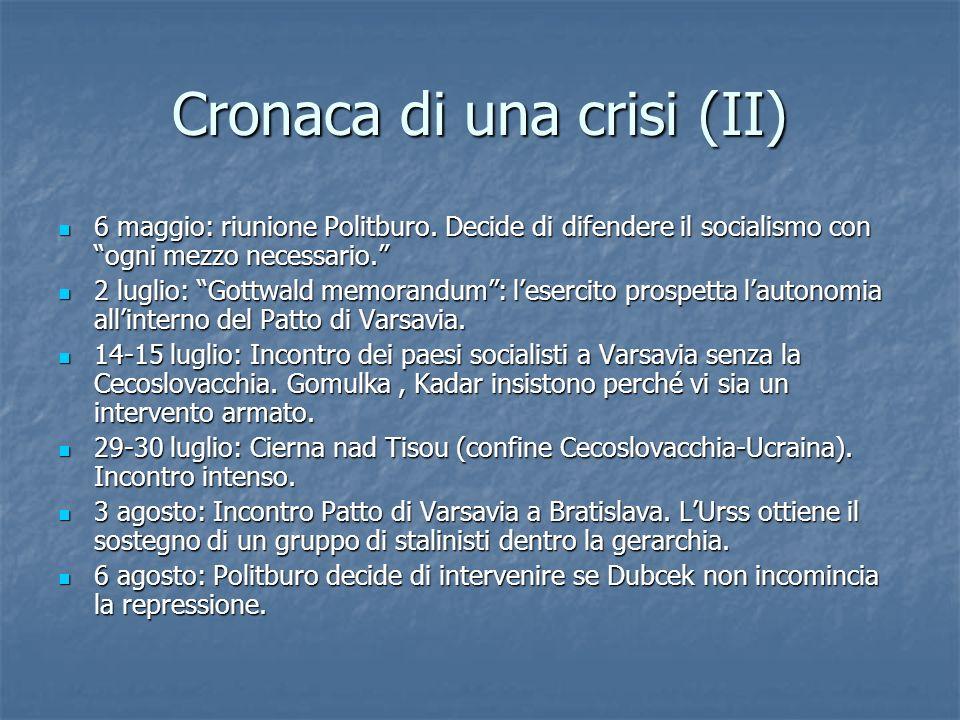 Cronaca di una crisi (II) 6 maggio: riunione Politburo. Decide di difendere il socialismo con ogni mezzo necessario. 6 maggio: riunione Politburo. Dec