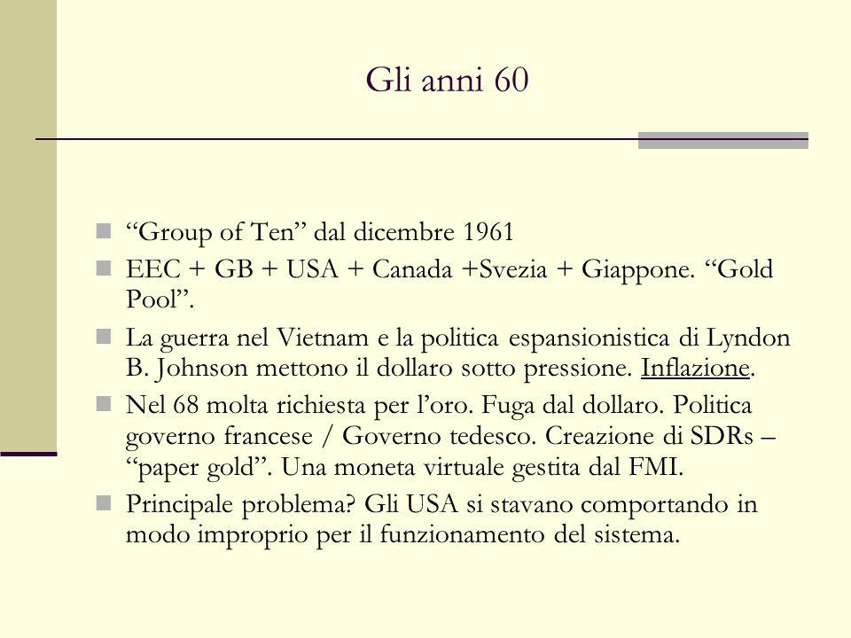 Gli anni 60 Group of Ten dal dicembre 1961 EEC + GB + USA + Canada +Svezia + Giappone. Gold Pool. La guerra nel Vietnam e la politica espansionistica