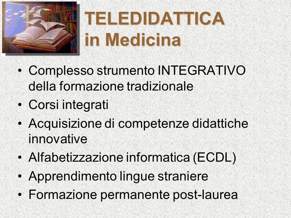 TELEDIDATTICA in Medicina Complesso strumento INTEGRATIVO della formazione tradizionale Corsi integrati Acquisizione di competenze didattiche innovati