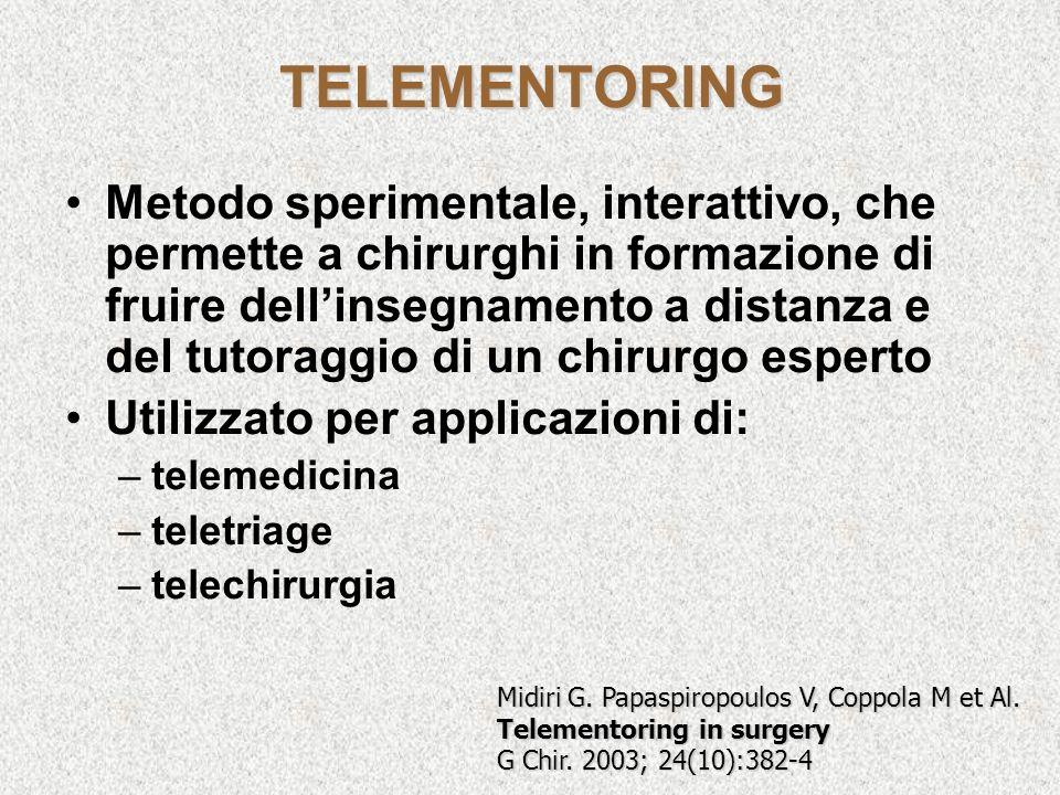 TELEMENTORING Midiri G. Papaspiropoulos V, Coppola M et Al. Telementoring in surgery G Chir. 2003; 24(10):382-4 Metodo sperimentale, interattivo, che