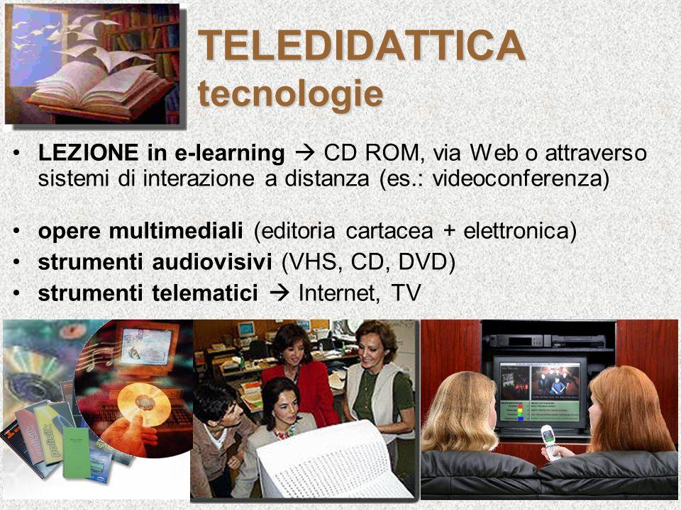 TELEDIDATTICA tecnologie LEZIONE in e-learning CD ROM, via Web o attraverso sistemi di interazione a distanza (es.: videoconferenza) opere multimedial