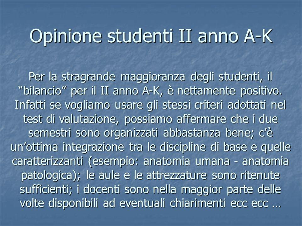 Opinione studenti II anno A-K Per la stragrande maggioranza degli studenti, il bilancio per il II anno A-K, è nettamente positivo.