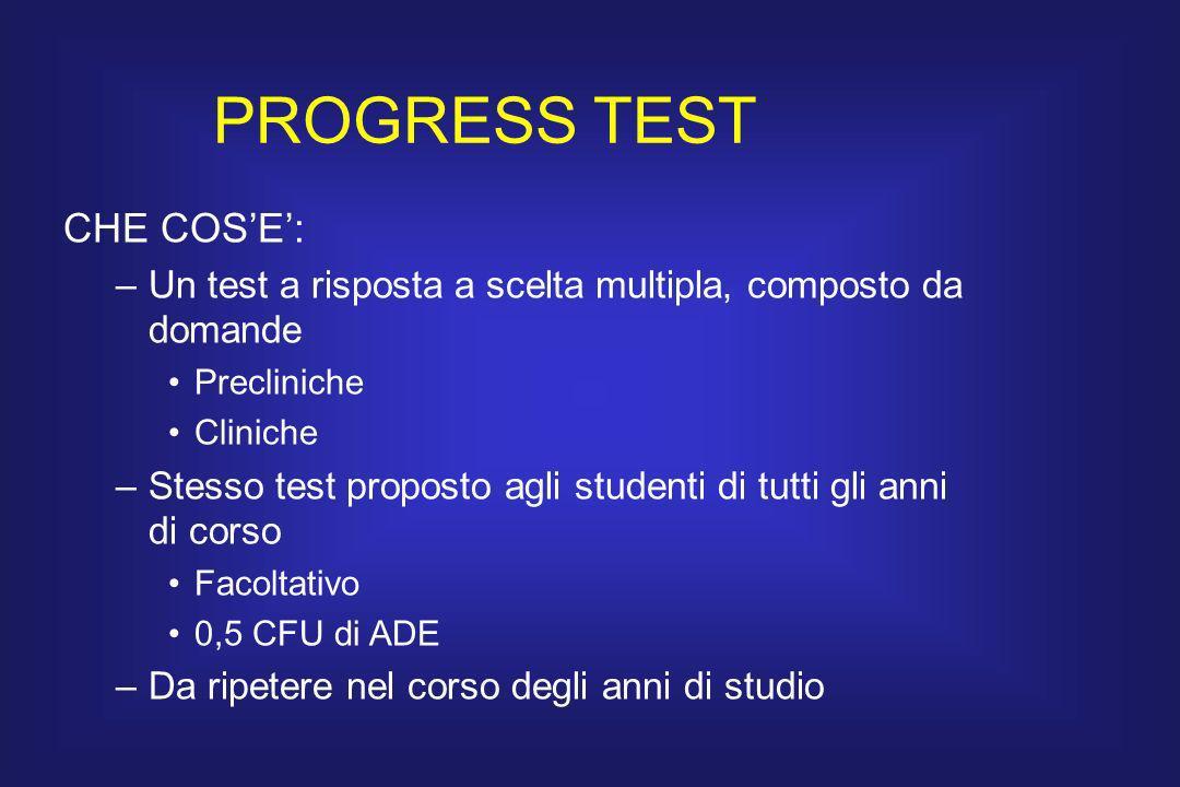 PROGRESS TEST CHE COSE: –Un test a risposta a scelta multipla, composto da domande Precliniche Cliniche –Stesso test proposto agli studenti di tutti g