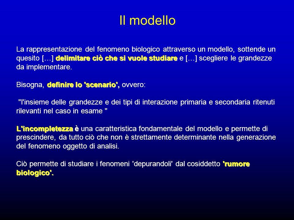 delimitare ciò che si vuole studiare La rappresentazione del fenomeno biologico attraverso un modello, sottende un quesito […] delimitare ciò che si vuole studiare e […] scegliere le grandezze da implementare.