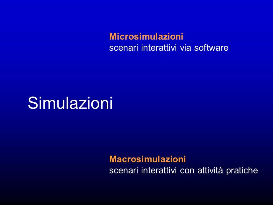 Simulazioni Microsimulazioni scenari interattivi via software Macrosimulazioni scenari interattivi con attività pratiche