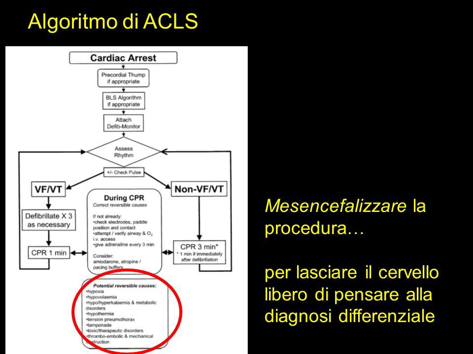 Algoritmo di ACLS Mesencefalizzare la procedura… per lasciare il cervello libero di pensare alla diagnosi differenziale