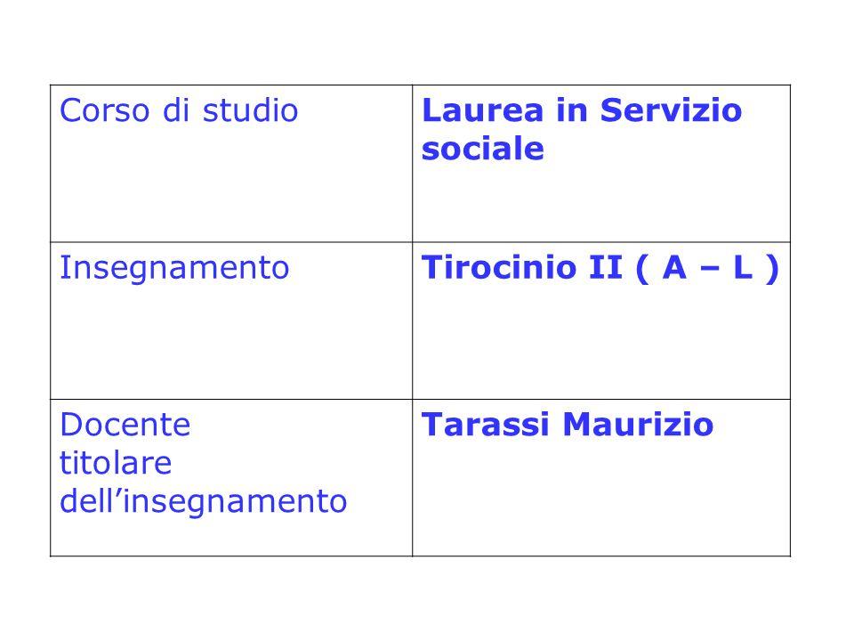 Corso di studioLaurea in Servizio sociale InsegnamentoTirocinio II ( A – L ) Docente titolare dellinsegnamento Tarassi Maurizio