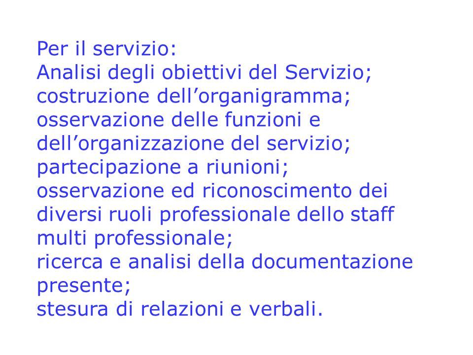 Per il servizio: Analisi degli obiettivi del Servizio; costruzione dellorganigramma; osservazione delle funzioni e dellorganizzazione del servizio; pa