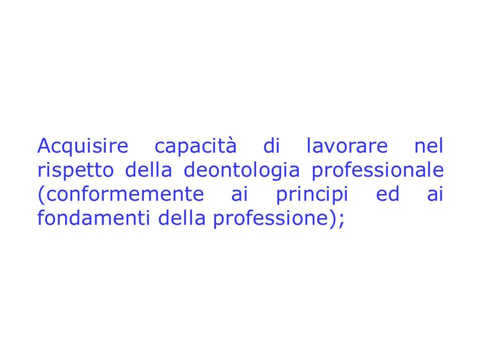 Acquisire capacità di lavorare nel rispetto della deontologia professionale (conformemente ai principi ed ai fondamenti della professione);
